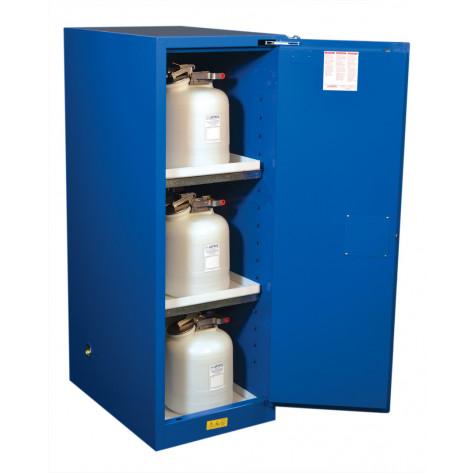 Sure-Grip  EX Deep Slimline Hazardous Material Safety Cabinet, Cap. 54 GAL 3 shelves 1 s/c door Royal Blue.