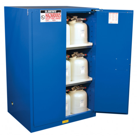 Sure-Grip  EX Hazardous Material Steel Safety Cabinet, Cap. 90 GAL, 2 shelves, 2 s/c doors, Royal Blue.