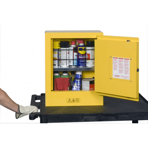 Sure-Grip  EX Mini Flammable Safety Cabinet, transportable, Aerosols, 1 shelf, 1 m/c door, Yellow.