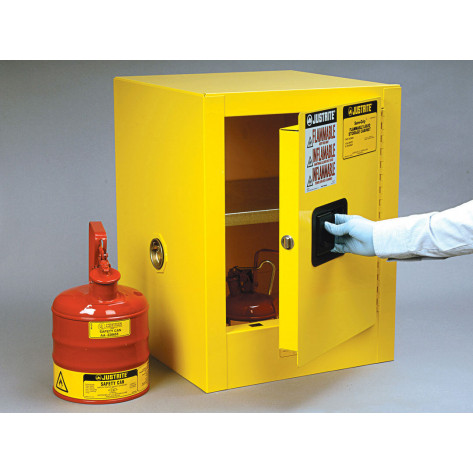 Sure-Grip  EX Countertop Flammable Safety Cabinet, Cap. 4 gallons, 1 shelf, 1 m/c door, Yellow.