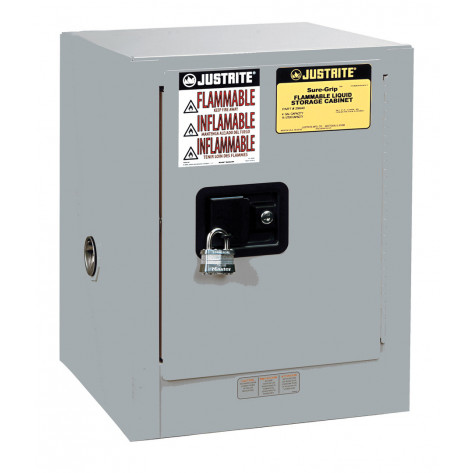 Sure-Grip  EX Countertop Flammable Safety Cabinet, Cap. 4 gallons, 1 shelf, 1 m/c door, Gray.
