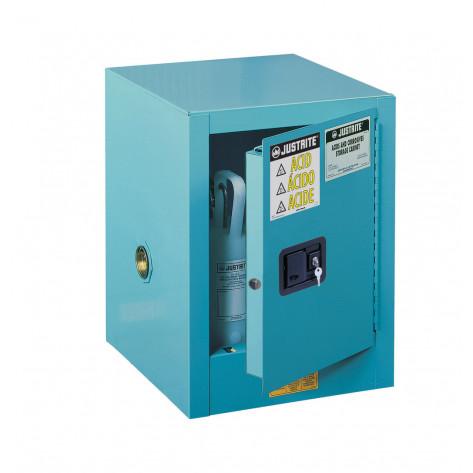 Sure-Grip  EX Countertop Corrosives/Acid Steel Safety Cabinet, Cap. 4 GAL, 1 shelf, 1 s/c door, Blue.