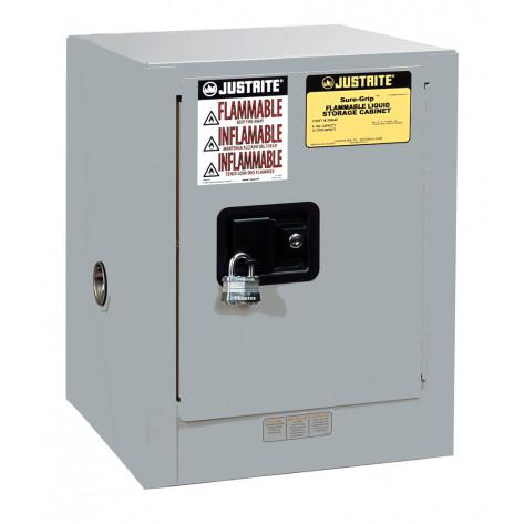Sure-Grip  EX Countertop Flammable Safety Cabinet, Cap. 4 gallons, 1 shelf, 1 s/c door, Gray.