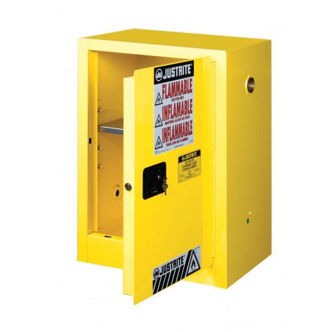Sure-Grip  EX Compact Flammable Safety Cabinet, Cap. 12 gallons, 1 shelf, 1 m/c door, Yellow.