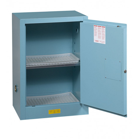 Sure-Grip  EX Compact Corrosives/Acid Steel Safety Cabinet, Cap. 12 GAL, 1 shelf, 1 s/c door, Blue.