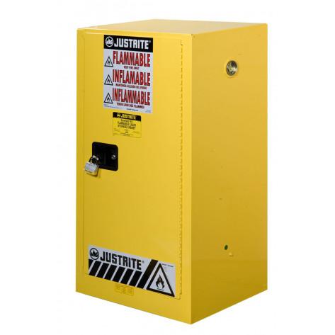 Sure-Grip  EX Compact Flammable Safety Cabinet, Cap. 15 gallons, 1 shelf, 1 m/c door, Yellow.