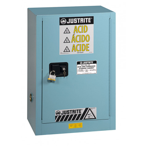 Sure-Grip  EX Compact Corrosives/Acid Steel Safety Cabinet, Cap. 15 GAL, 1 shelf, 1 m/c door, Blue.