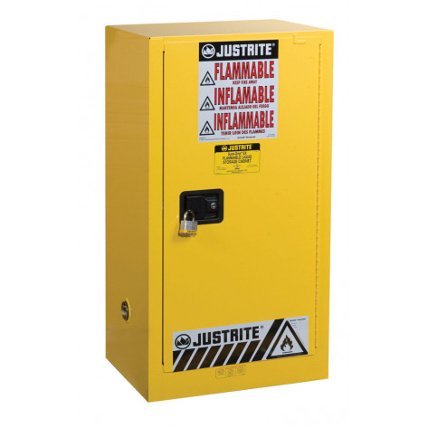 Sure-Grip  EX Compact Flammable Safety Cabinet, Cap. 15 gallons, 1 shelf, 1 s/c door, Yellow.