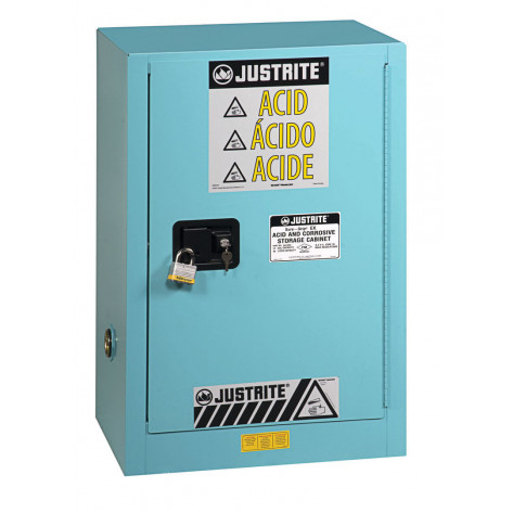 Sure-Grip  EX Compact Corrosives/Acid Steel Safety Cabinet, Cap. 15 GAL, 1 shelf, 1 s/c door, Blue.
