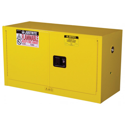 Sure-Grip  EX Piggyback Flammable Safety Cabinet, Cap. 17 gallons, 1 shelf, 2 m/c doors, Yellow.