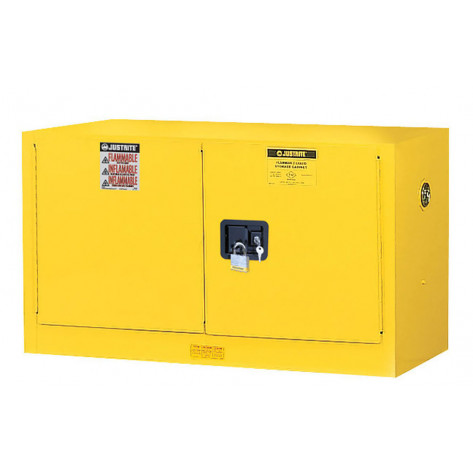 Sure-Grip  EX Wall Mount Flammable Safety Cabinet, Cap. 17 gallons, 1 shelf, 2 m/c doors, Yellow.