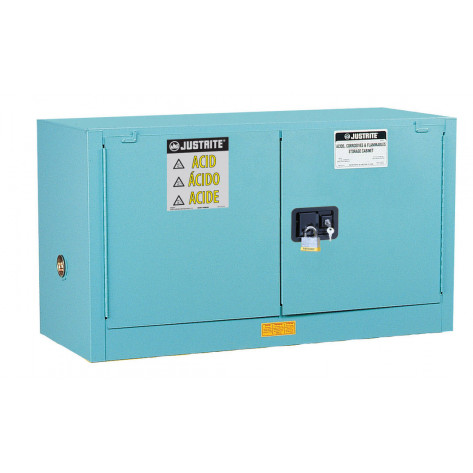 Sure-Grip  EX Piggyback Corrosives/Acid Steel Safety Cabinet, Cap. 17 gal, 1 shelf, 2 m/c doors, Blu.
