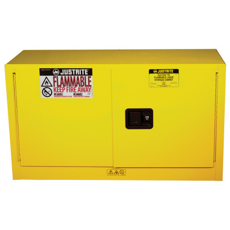 Sure-Grip  EX Piggyback Flammable Safety Cabinet, Cap. 17 gallons, 1 shelf, 2 s/c doors, Yellow.