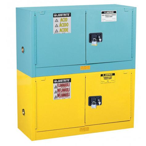 Sure-Grip  EX Piggyback Corrosives/Acid Steel Safety Cabinet, Cap. 17 gal, 1 shelf, 2 s/c doors, Blu.