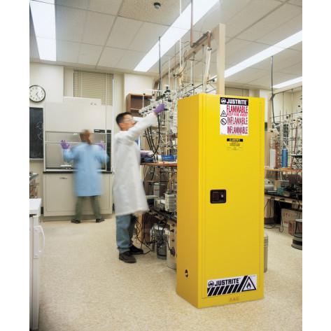 Sure-Grip  EX Slimline Flammable Safety Cabinet, Cap. 22 gallons, 3 shelves, 1 m/c door, Yellow.