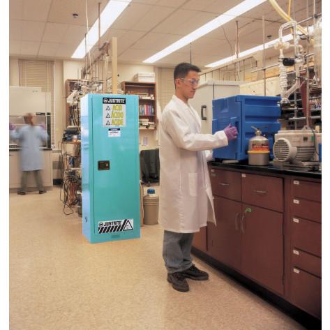 Sure-Grip  EX Slimline Corrosives/Acid Steel Safety Cabinet, Cap. 22 gal, 3 shelves, 1 m/c door, Blu.