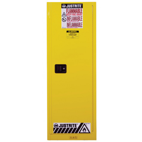 Sure-Grip  EX Slimline Flammable Safety Cabinet, Cap. 22 gallons, 3 shelves, 1 s/c door, Yellow.