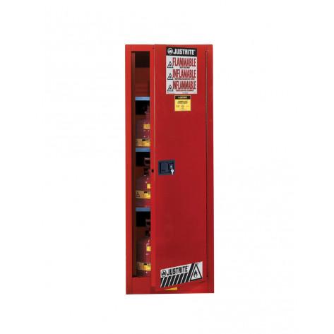 Sure-Grip  EX Slimline Flammable Safety Cabinet, Cap. 22 gallons, 3 shelves, 1 s/c door, Red.