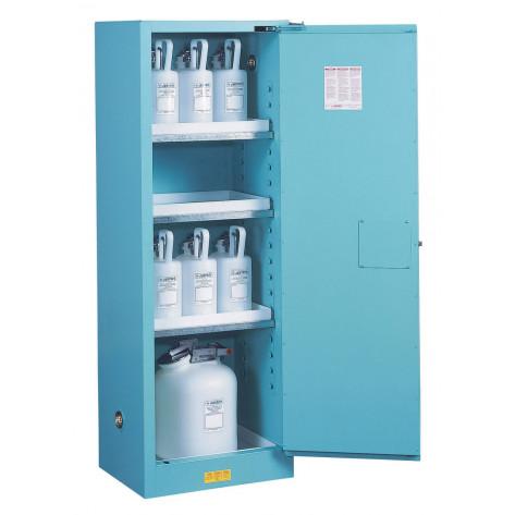 Sure-Grip  EX Slimline Corrosives/Acid Steel Safety Cabinet, Cap. 22 gal, 3 shelves, 1 s/c door, Blu.