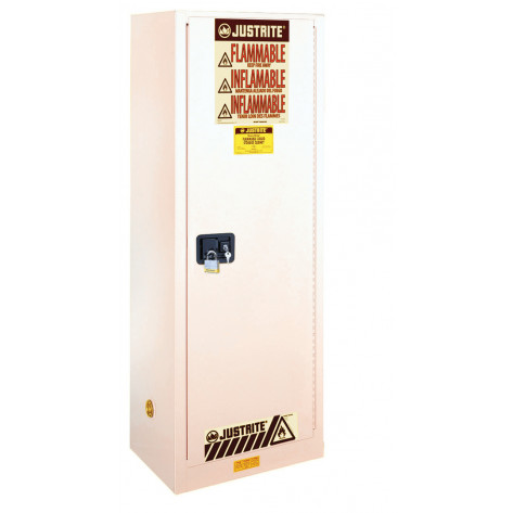 Sure-Grip  EX Slimline Flammable Safety Cabinet, Cap. 22 gallons, 3 shelves, 1 s/c door, White.