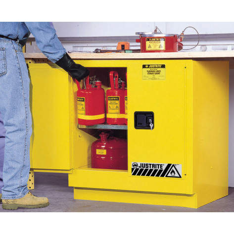 Sure-Grip  EX Undercounter Flammable Safety Cabinet, Cap. 22 gallons, 1  shelf, 2 m/c doors, Yellow.