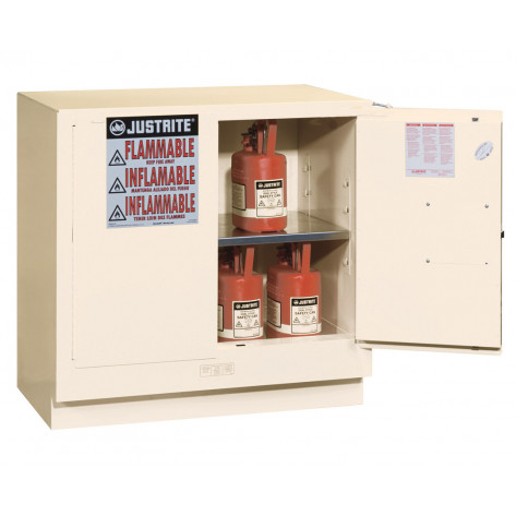 Sure-Grip  EX Undercounter Flammable Safety Cabinet, Cap. 22 gallons, 1  shelf, 2 m/c doors, White.