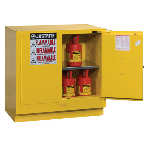 Sure-Grip  EX Undercounter Flammable Safety Cabinet, Cap. 22 gallons, 1  shelf, 2 s/c doors, Yellow.