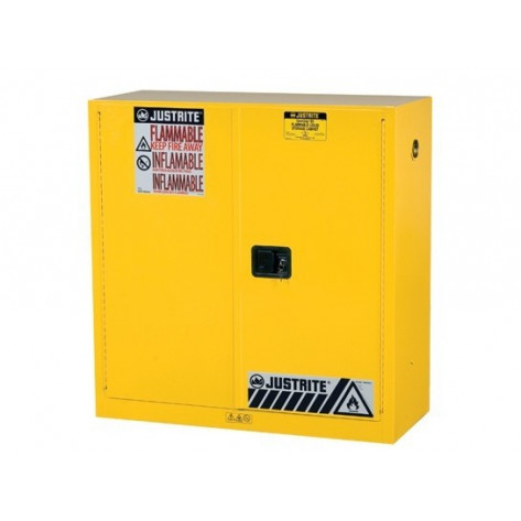 "Sure-Grip  EX Flammable Safety Cabinet, Dims. 44""H, Cap. 30 GAL, 1 shelf, 2 m/c doors, Yellow."