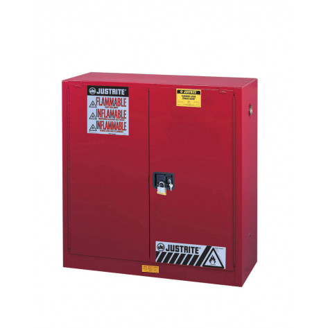 """Sure-Grip  EX Flammable Safety Cabinet, Dims. 44""""H, Cap. 30 GAL, 1 shelf, 2 m/c doors, Red."""