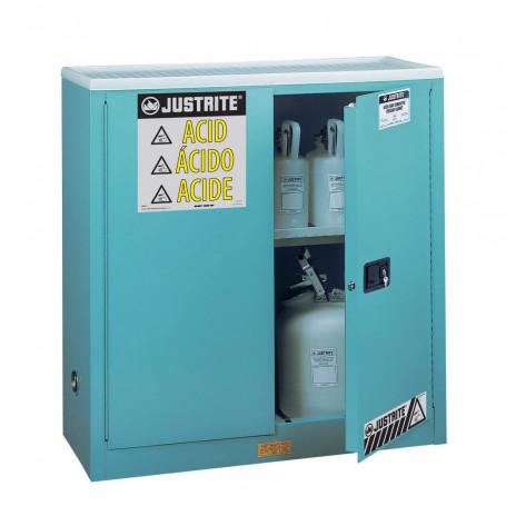 "Sure-Grip  EX Corrosives/Acid Steel Safety Cabinet, Dims. 44""H, Cap. 30 GAL, 1 shelf, 2 m/c doors, Blue."