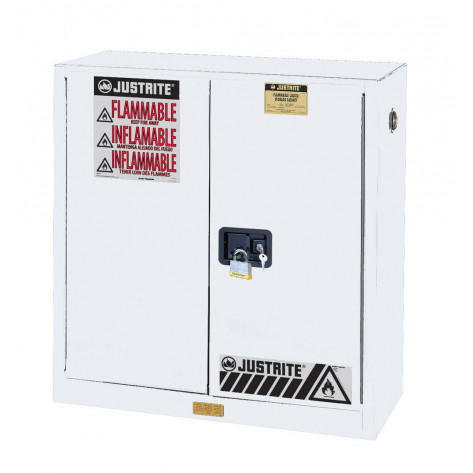 "Sure-Grip  EX Flammable Safety Cabinet, Dims. 44""H, Cap. 30 GAL, 1 shelf, 2 m/c doors, White."