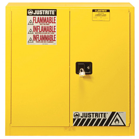 Sure-Grip  EX Combustibles Safety Cabinet for paint and ink, Cap. 40 GAL, 3 shelves, 2 m/c door, Yel.
