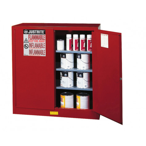 Sure-Grip  EX Combustibles Safety Cabinet for paint and ink, Cap. 40 GAL, 3 shelves, 2 m/c door, Red.