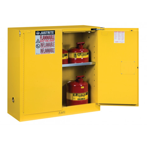 Sure-Grip  EX Flammable Safety Cabinet, Cap. 30 gallons, 1 shelf, 2 self-close doors, Yellow.