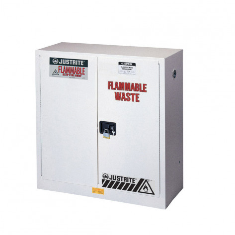 Flammable Waste Safety Cabinet, Steel, Cap. 30 gallons, 1 shelf, 2 self-close doors, White.