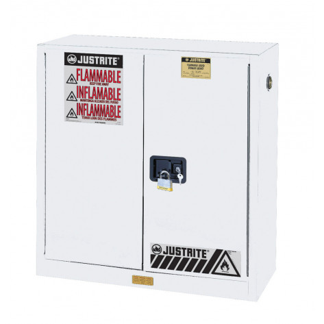 Sure-Grip  EX Flammable Safety Cabinet, Cap. 30 gallons, 1 shelf, 2 self-close doors, White.