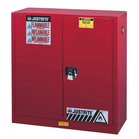 Sure-Grip  EX Combustibles Safety Cabinet for paint and ink, Cap. 40 gal, 3 shelves, 2 s/c door, Red.