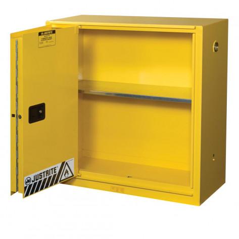 Sure-Grip  EX Flammable Safety Cabinet, Cap. 30 GAL, 1 shelf, 1 bi-fold s/c door, Yellow.