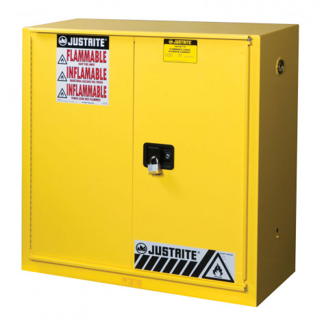 Sure-Grip  EX Combustibles Safety Cabinet for paint/ink, Cap. 40 GAL, 3 shelves, 1 bifold s/c door, Yel.