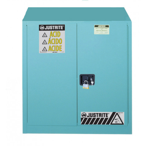"Sure-Grip  EX Corrosives/Acid Steel Safety Cabinet, Dims. 35""H, Cap. 30 GAL, 1 shelf, 2 m/c doors, Blue."