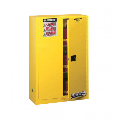 Sure-Grip  EX Flammable Safety Cabinet, Cap. 45 gallons, 2 shelves, 2 manual-close doors, Yellow.