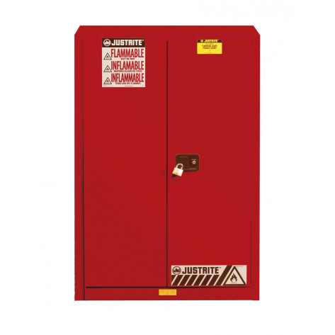 Sure-Grip  EX Flammable Safety Cabinet, Cap. 45 gallons, 2 shelves, 2 manual-close doors, Red.