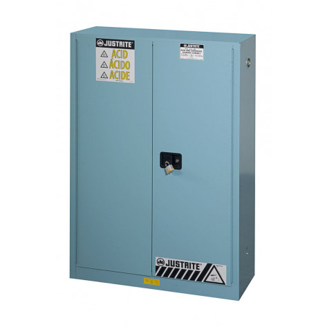 Sure-Grip  EX Corrosives/Acid Steel Safety Cabinet, Cap. 45 GAL, 2 shelves, 2 m/c doors, Blue.