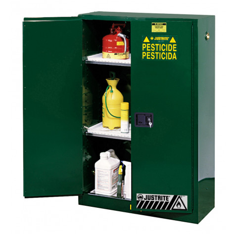 Sure-Grip  EX Pesticides Safety Cabinet, Cap. 45 gallons, 2 shelves, 2 manual-close doors, Green.