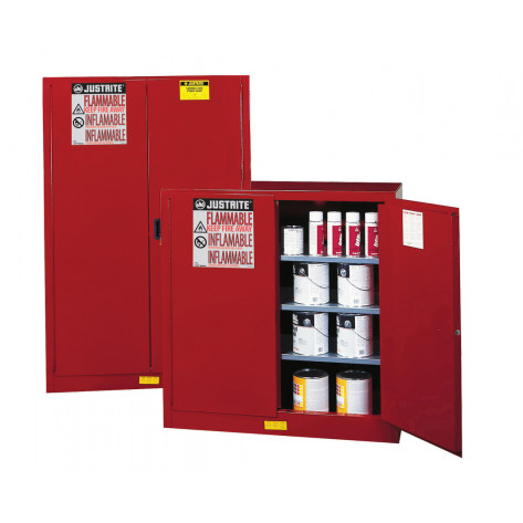 Sure-Grip  EX Combustibles Safety Cabinet for paint and ink, Cap. 60 GAL, 5 shelves, 2 m/c door, Red.