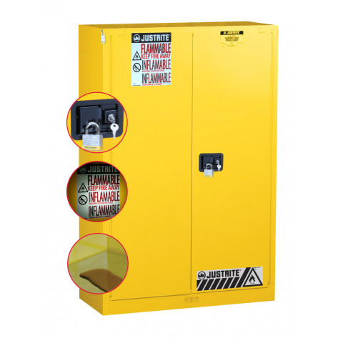 Sure-Grip  EX Flammable Safety Cabinet, Cap. 45 gallons, 2 shelves, 2 self-close doors, Yellow.