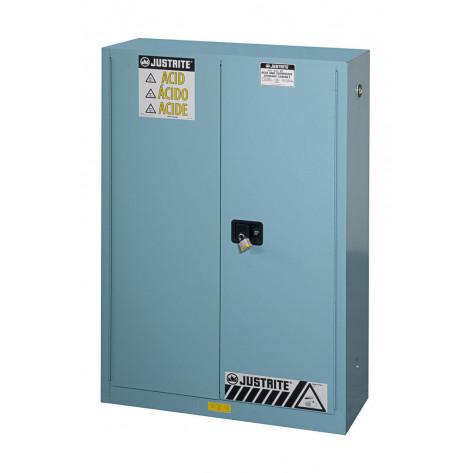 Sure-Grip  EX Corrosives/Acid Steel Safety Cabinet, Cap. 45 GAL, 2 shelves, 2 s/c doors, Blue.