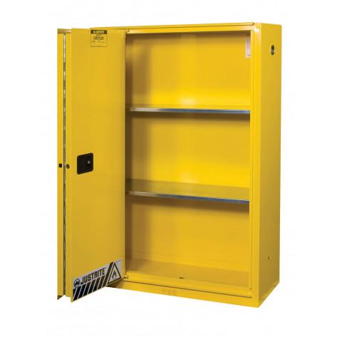 Sure-Grip  EX Flammable Safety Cabinet, Cap. 45 gallons, 2 shelves, 1 bi-fold s/c door, Yellow.