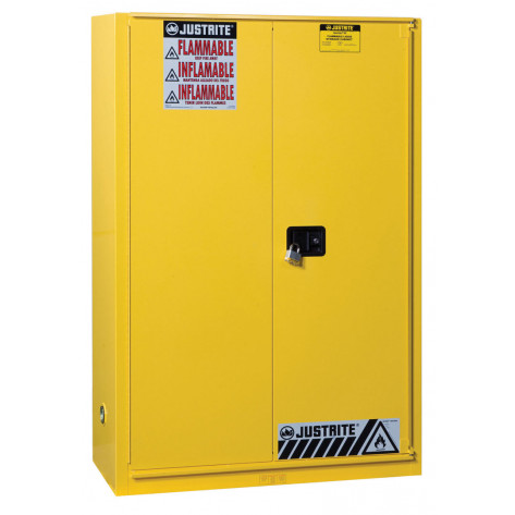 Sure-Grip  EX Combustibles Safety Cabinet for paint and ink, Cap. 60 GAL, 5 shelves, 1 bifold door, Yel.