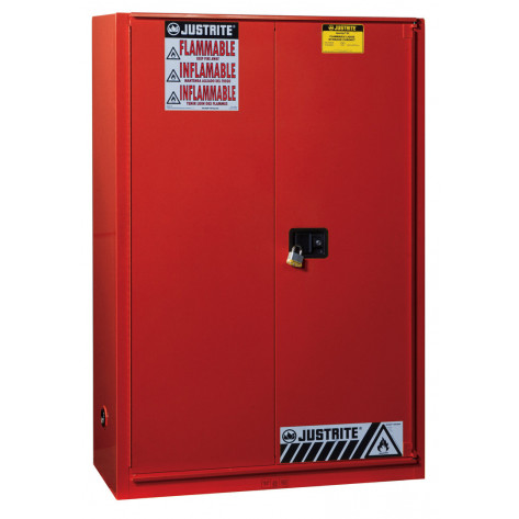 Sure-Grip  EX Combustibles Safety Cabinet for paint and ink, Cap. 60 GAL, 5 shelves, 1 bifold door, Red.